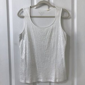 Chico's White Sequined Tank Top Blouse